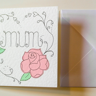 Mother's day card with pink rose and heart, Foral birthday card for Mum