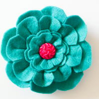 Flower brooch, Gift for her, Teal felt flower pin