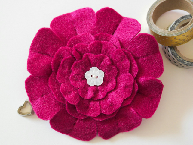 Flower brooch, Gift for her, Maroon felt flower pin, Gift for Mum