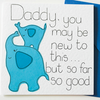 Greeting Card, Birthday Card,  New Daddy card, Blue Daddy and Baby Elephant card