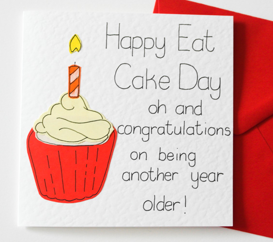 Handmade Birthday Card, Funny birthday card, Happy Birthday card, Happy eat cake