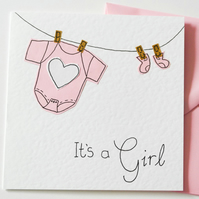 Greeting Card - It's a Girl Handmade Greeting card - New Baby Girl Card