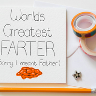 World's Best Farter (sorry I meant Father) Father's Day card, Funny Dad Birthday