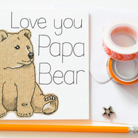 Love you Papa Bear Handmade Greeting card, Bear Father's day card, Dad Birthday
