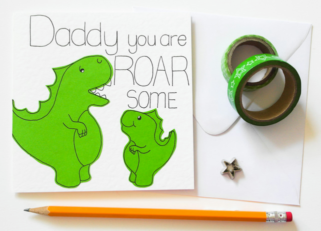 Dinosaur Father's Day card, Daddy you are ROAR some birthday card