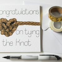 Congratulations on tying the knot handmade Wedding day card