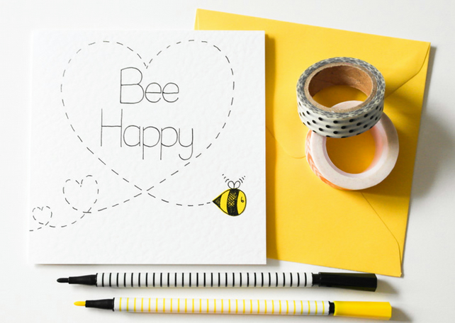 Bee happy handmade greeting card best friends folksy bee happy handmade greeting card best friends card birthday card new home m4hsunfo