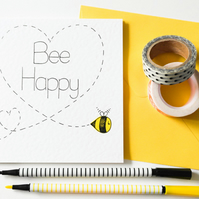 Bee Happy handmade greeting card, Best friends card, Birthday card, New Home