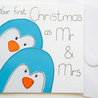 Your first Christmas as Mr and Mrs Xmas card, Newly married penguins card