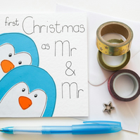 Your first Christmas as Mr and Mr Xmas card, Newly married gay penguins card