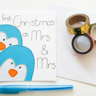 Your first Christmas as Mrs and Mrs Xmas card, Newly married Lesbian Xmas card