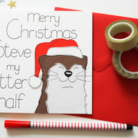 Personalised Otter Christmas cards, Card for Boyfriend,Girlfriend, Husband, wife