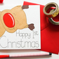 Baby's First Christmas Card, Happy 1st Christmas Card, Cute Reindeer 1st Xmas