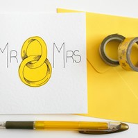 Mr and Mrs Wedding Card, Anniversary card, First Anniversary Card, Wedding card