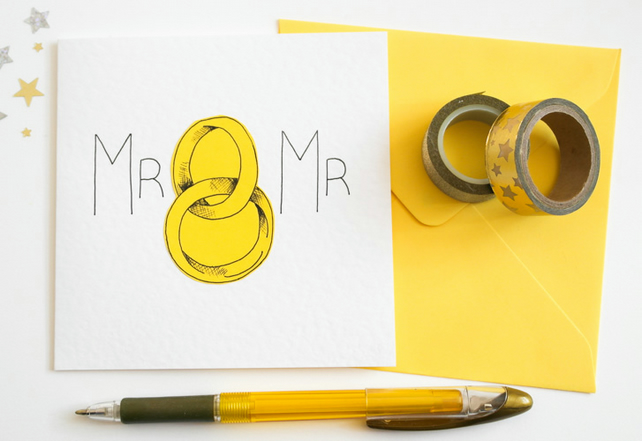 Greeting Card, Civil Partnership Card, Same Sex Wedding Card, Mr and Mr Wedding