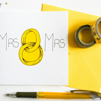 Mrs and Mrs Wedding Card, Same Sex Wedding Card, Lesbian Wedding, Gay Couple