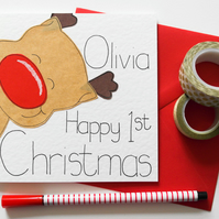 Personalised Reindeer First Christmas Card, Baby's First Christmas Card