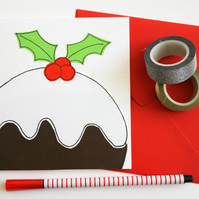 Christmas pudding handmade Christmas card, Xmas pudding card, Seasonal card