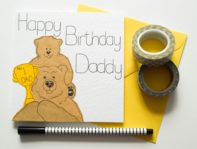 Cute Daddy Birthday Card, Daddy Bear and Baby Bear Birthday card