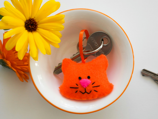Cat keyring-Kawaii felt ginger cat gift-Gift for a cat lover-Christmas present