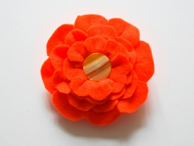 Orange Felt Flower Brooch, Unique gift for a friend, Gift for Mum