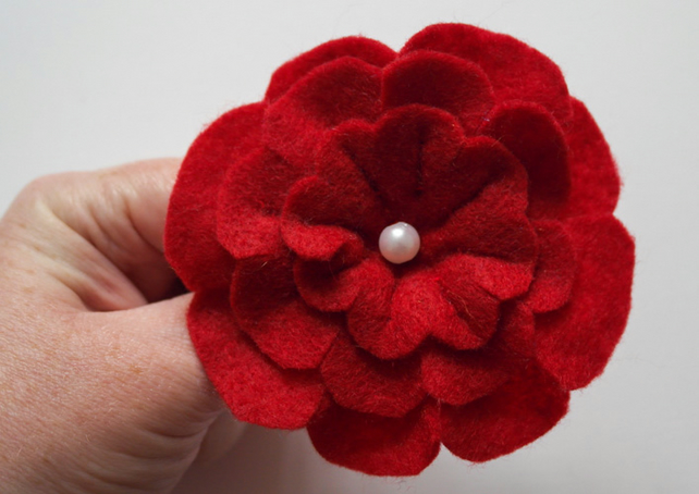 Red Flower Felt Brooch, Jewellery & Accessories, Stocking Filler, Gift for Her