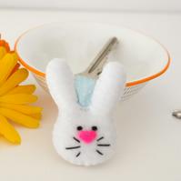 Rabbit keyring-Kawaii felt white bunny keyring-Gift for a rabbit lover