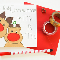 First Christmas as a Mr and Mrs reindeer handmade Christmas card