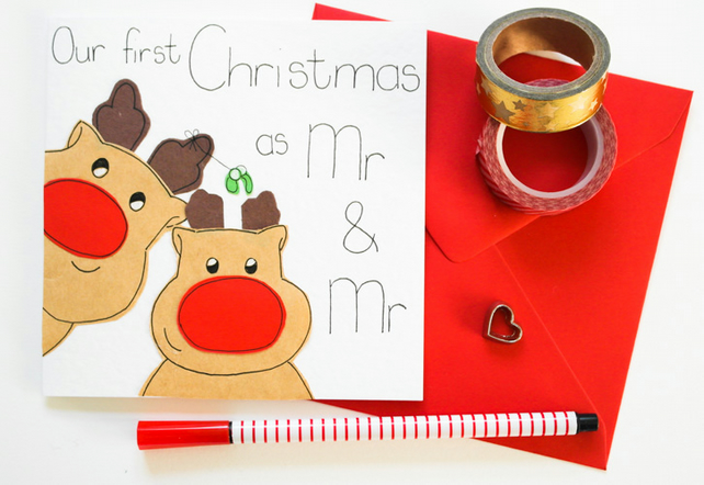 First Christmas as a Mr and Mr reindeer handmade Christmas card- Gay husband