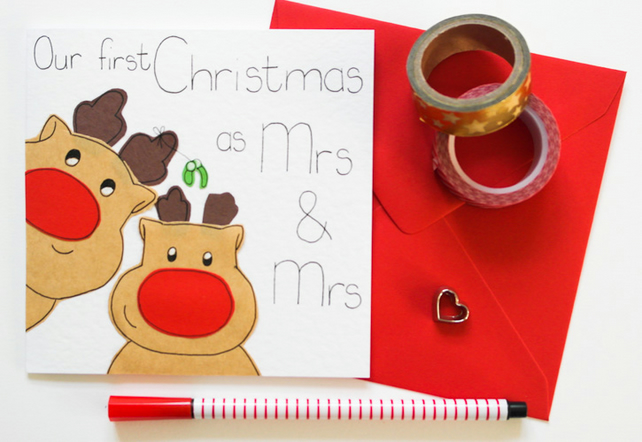 First Christmas as a Mrs and Mrs reindeer handmade Christmas card-Lesbian xmas
