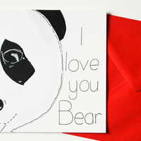 Valentine Panda card, Cute Anniversary card, I love you bear birthday card