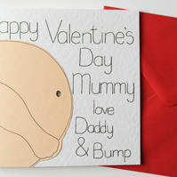 Bump Valentine's Day card from Daddy to Be for Mummy to Be, Card from the Bump