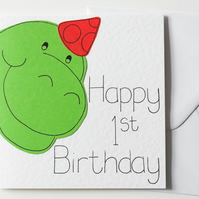 Dinosaur First Birthday Card, Dino 1st Happy Birthday Card, Dinosaur card