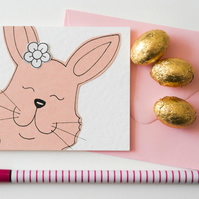 Cute Pink Bunny Notecards, Easter Bunnies Thank you cards