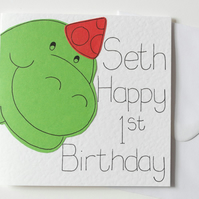 Personalised Dinosaur First Birthday card, Personalised First Birthday card