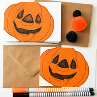 Pumpkin notecards, Handmade Halloween Party Invites, 6 Pack Halloween Mini Card