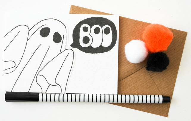 6 Pack Ghost Halloween Mini Cards, Handmade Halloween Party Invites