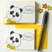 Cute Panda Notecards,Pack of six Panda Thank you cards