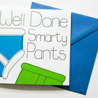 Well Done Smarty Pants Exam Congratulations Card, New Job Card for Him