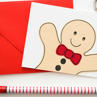 Handmade Gingerbread Man Christmas card pack, Stocking Filler Thank you Cards
