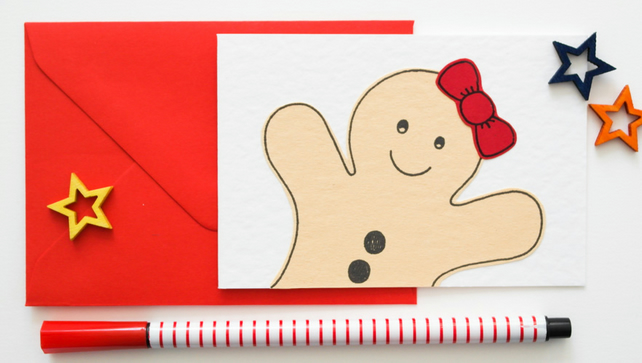 Gingerbread Woman Christmas cards, ChildrensThank you Cards
