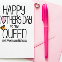 Happy Mother's Day to my Queen Love From Your Princesses Mother's Day Card