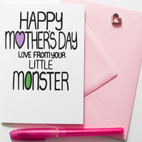Happy Mother's Day Love From Your Littlle Monster Mother's Day Card