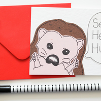 Sending Hedge Hugs Notecards, Pack of six Cute Hedgehogs Thinking of you cards