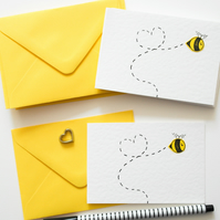 Note cards pack of 6, Bee notecards, Greeting card 6 Pack, Thinking of you cards