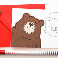Sending Hugs Notecards, Pack of six Cute Bear Thinking of you cards