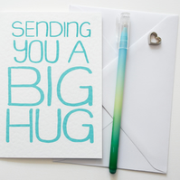 Sending You a Big Hug Greetings Card in blue