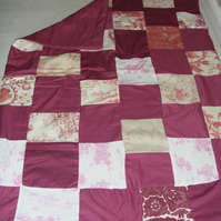 Red and Pink Handmade Patchwork Quilt - Single Size