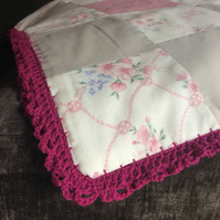 Handmade Patchwork Double Bed Size Pink Quilt with Crochet Edging