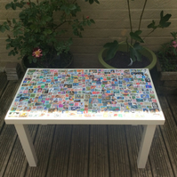 Handmade Postage Stamp Coffee Table Upcycled